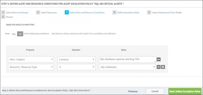 Define Alert and Resource Conditions