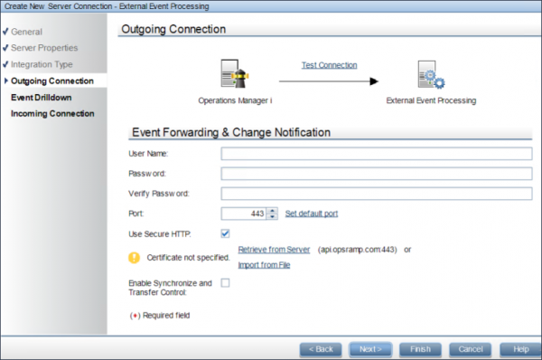 External Event Processing Outgoing Connection