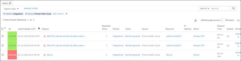 Prisma Public Cloud Alerts