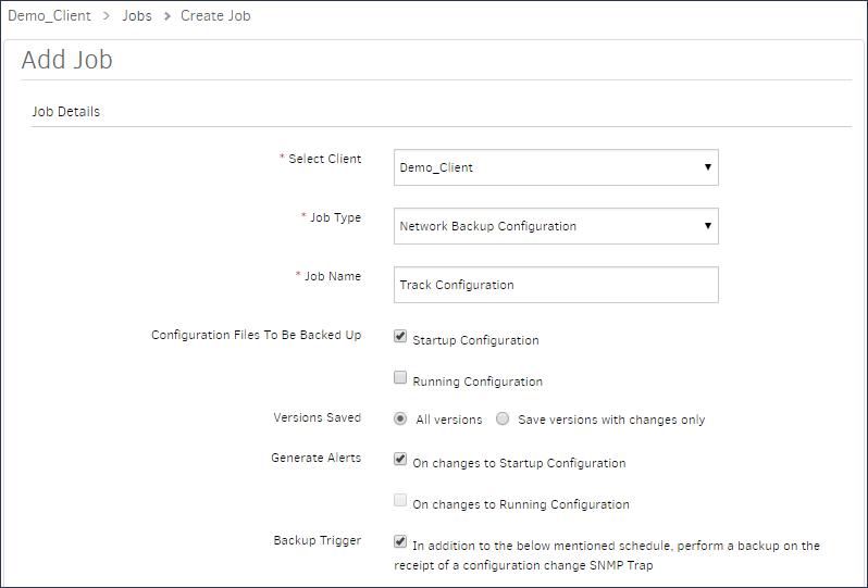 Network Backup Configuration